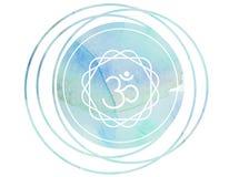 Круговой лотос Om символа раздумья мандалы акварели иллюстрация штока