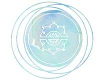 Круговой лотос Om символа раздумья мандалы акварели иллюстрация вектора
