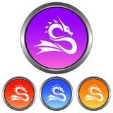 Круговой, металлический, значок силуэта дракона градиента белый 4 изменения цвета бесплатная иллюстрация