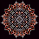 Круговой орнамент на черной предпосылке Стоковая Фотография