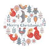 Круговой орнамент рождества в скандинавском стиле иллюстрация штока