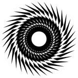 Круговой радиальный геометрический элемент изолированный на белой предпосылке Стоковые Фотографии RF
