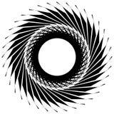 Круговой радиальный геометрический элемент изолированный на белой предпосылке Стоковая Фотография RF