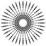 Круговой элемент мотива Радиальные пунктирные линии с скачками profi иллюстрация вектора