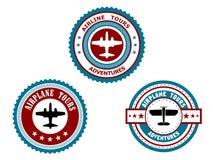 Круговые значки для путешествий самолета Стоковая Фотография RF
