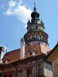 Круглая башня, замок Cesky Krumlov, чехия Стоковая Фотография