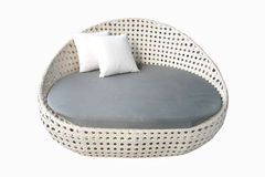 Круглая белая серая софа ткани Стоковые Изображения RF