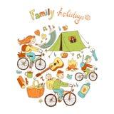 Круглая иллюстрация вектора с дружелюбной семьей и располагаться лагерем оборудуют Стоковые Фото