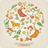 Круглая картина с символами элементов Испании Стоковое Изображение RF