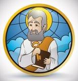 Круглая кнопка в стиле цветного стекла с изображением St Peter, иллюстрацией вектора бесплатная иллюстрация