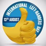 Круглая кнопка с золотым большим пальцем руки-вверх для международных левшей дня, иллюстрации вектора Стоковое Изображение RF