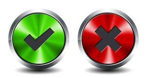 Круглая металлическая кнопка - утверждение и стоп Стоковая Фотография RF