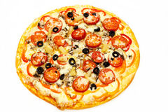 Круглая пицца с мясом 13 Стоковые Изображения
