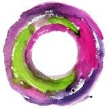 Круглая рамка акварели, форма формы круга Стоковая Фотография RF