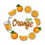 Круглая рамка апельсинов и сока с местом для текста иллюстрация вектора