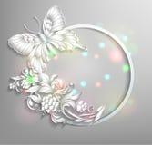 Круглая рамка с бабочкой Стоковое Фото