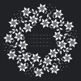 Круглая рамка с белыми цветками и листьями иллюстрация штока