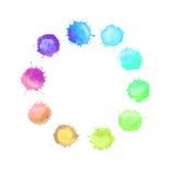 Круглая рамка сделанная шариков радуги акварели Стоковая Фотография RF