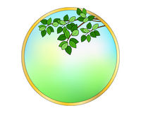 Круглая рамка с листьями иллюстрация штока
