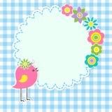 Круглая рамка с милой птицей Стоковое Изображение