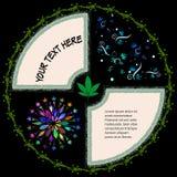 Круглая рамка для текста с листьями и колючей проволокой марихуаны Стоковая Фотография