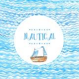Круглая рука рамки doodle нарисованная на предпосылке акварели волны моря с деревянным кораблем Фон вектора художнический Стоковые Фотографии RF