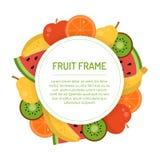 Круглая сочная рамка плодоовощ Стоковое Фото