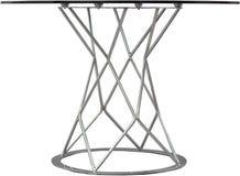 Круглая стеклянная dinning таблица Современный дизайнер, таблица изолированная на белой предпосылке Серия мебели Стоковое фото RF