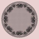 Круглая черная кружевная рамка Стоковые Изображения