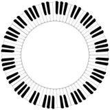 Круглая черно-белая рамка клавиатуры рояля Стоковое Изображение RF