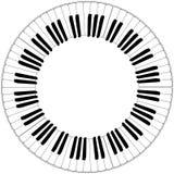 Круглая черно-белая рамка клавиатуры рояля Стоковые Изображения