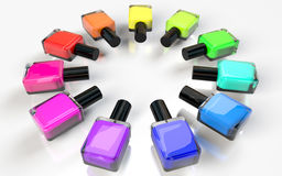 Круг бутылок маникюра лака красочный на белизне Стоковое Изображение