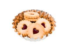 круг варенья сердца печенья красный Стоковое Изображение RF