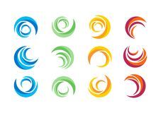 Круг, вода, логотип, ветер, сфера, завод, листья, крыла, пламя, солнце, конспект, безграничность, комплект круглого дизайна векто иллюстрация вектора