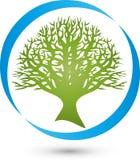 Круг и дерево, завод в логотипе зеленого цвета, здоровья и природы иллюстрация штока