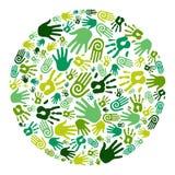 круг идет зеленые руки Стоковое Изображение RF