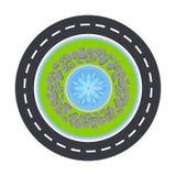 Круг и фонтан дороги внутри взгляд сверху vector иллюстрация Стоковое Изображение