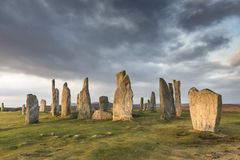 Круг камня Callanish на острове Левиса в наружном Hebrides Шотландии Стоковое Фото