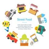 Круг карточки знамени киоска стойла тележки еды улицы шаржа вектор Стоковое фото RF