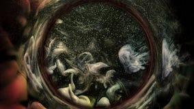 Круг коричневого цвета прогноза астрологии свирли чернил серый иллюстрация вектора