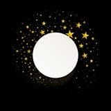 Круглое знамя с потоком звезд золота иллюстрация штока