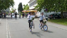 Круглое путешествие на festively украшенных велосипедах Стоковые Изображения RF