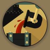Круглое emlema логотипа, символ в форме proces выплавкой металла стоковые изображения
