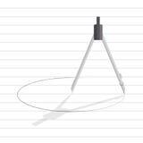 Круг притяжки инструмента компаса на линии бумаге Стоковые Фото