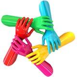 Круг рук цветастый держа верхнюю часть одина другого Стоковые Изображения RF