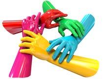 Круг рук цветастый держа верхнюю часть одина другого Стоковое Изображение
