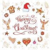 Круг сделал элементов рождества декоративных иллюстрация вектора