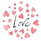 Круг сердец с текстом Стоковое Изображение RF