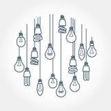Круг смертной казни через повешение электрической лампочки на шнурах Стоковое Изображение