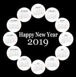 Круг сформировал календарь 2019 стоковая фотография rf